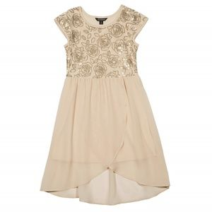 George Gold Sequin Floral Nude Mesh High Low Dress